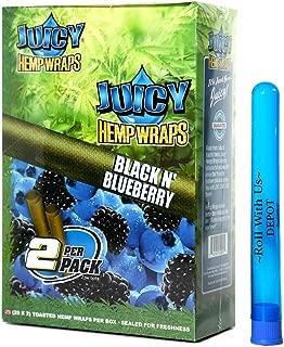 Juicy Hemp Wraps Black N' Blueberry (25 Packs, 2 Wraps Per Pack) Includes Display Box and Roll with Us Doobtube (Juicy Jay's)