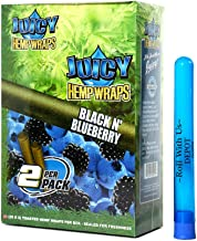 Juicy Hemp Wraps Black N' Blueberry (25 Packs, 2 Wraps Per Pack) Includes Display Box and Roll With Us Doobtube (Juicy Jay's)