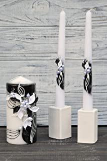Magik Life Unity Candle Set for Wedding - Wedding décor & Wedding Accessories - Candle Sets - 6 Inch Pillar and 2 10 Inch Tapers - Best Unity Candle- Black