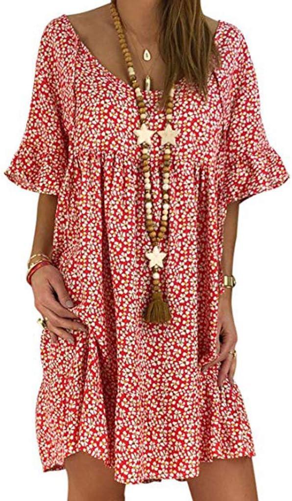 /ét/é Nouveaut/é Casual Robe /à d/écollet/é en V /à Manches Courtes avec imprim/é Fleurie Simple /él/égante Robes de Plage Wakala Robe Courte Femme Ete Boheme Chic
