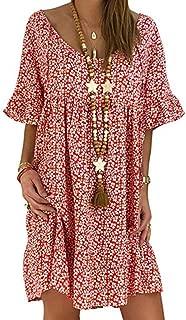 Kiyotoo Womens Boho Deep V Neck Dress Floral Print Button Down A line Short Sleeve Sexy Dresses with Ruffle Hem Mini Dress