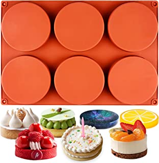 Funshowcase Round Disc Baking Silicone Mold 6-Cavity, 4inch, Circle Epoxy Resin Tray, Chocolate Cake Pie Custard Tart Muffin Sandwiches Eggs Bakeware, Soap Concrete Cement Plaster Pan