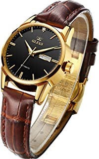 Womens Dress Watches with Automatic Mechanical Thin Leather Strap Band, Office Lady Date Waterproof Luminous Watches