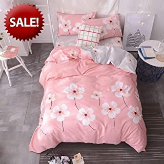 EnjoyBridal Flowers Bedding Sets Girls Pink Comforter Cover for Twin Size Bed Cotton Duvet Cover Twin 3 PC Teens Quilt Cover Twin with 2 PC Pillow Shams Collection, No Comforter