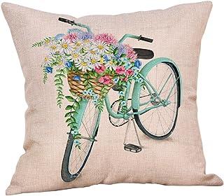 "Iuhan Throw Pillow Case Cushion Cover, Cotton Linen Bicycle Flower Pillow Case Sofa Waist Cushion Cover Home Decor 18"" x 18"" 45cm x 45cm (F)"