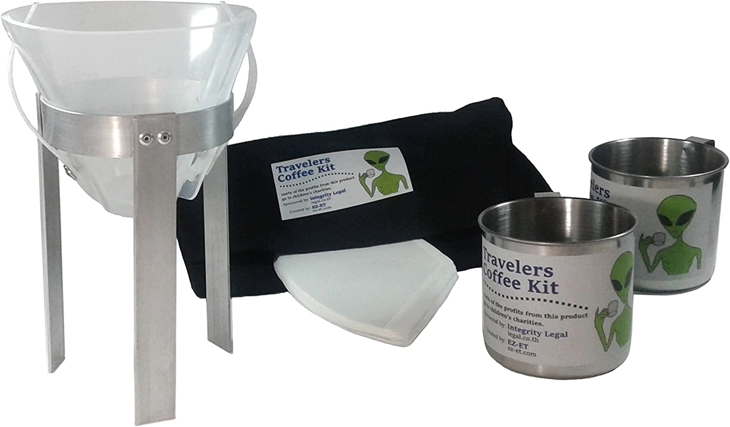 Travelers Coffee Kit (Pour Over Coffee Maker  Portable, Lightweight, Compact, Durable, for Camping, Backpackers, Nomads, Ethical Aliens Charity  Economical  for Home and Hotel Coffee Alternative)