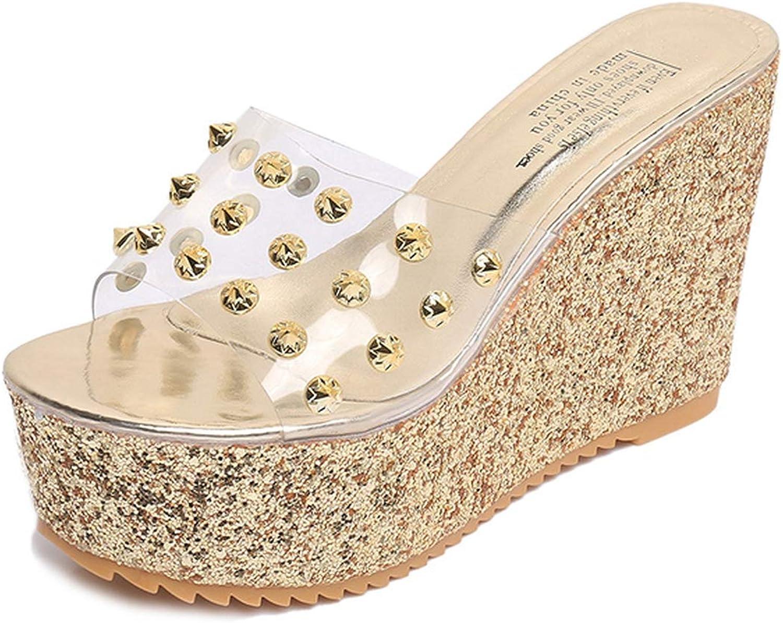 QDKM Platform shoes Woman Slippers Women shoes Female Slides Fashion Rivet Elegant High Heels Wedges Ladies shoes