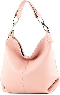 modamoda de - T168 - ital Schultertasche Umhängetasche aus Leder, Farbe:Rosa