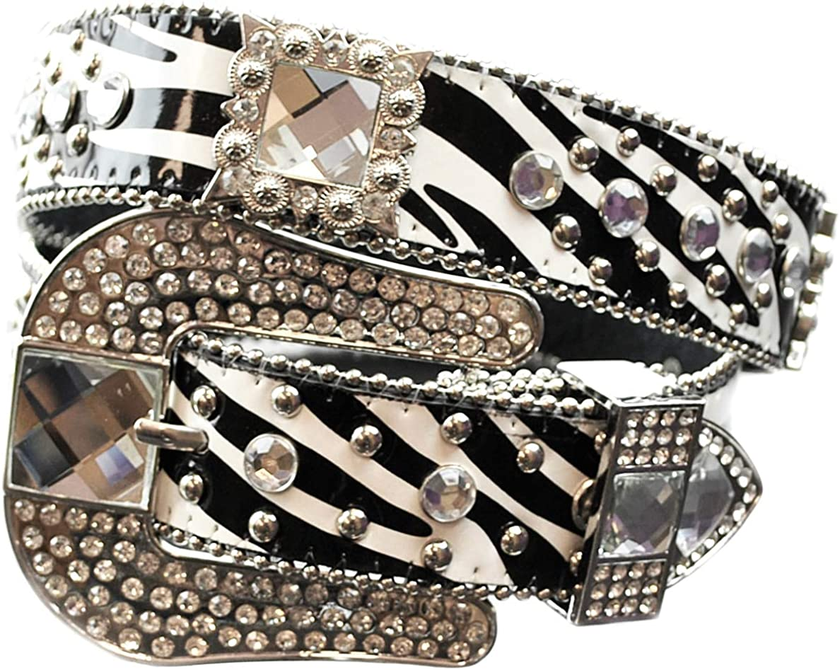 Women's Chic Rhinestone Bling Metal Max 51% OFF W Studded Leather Very popular