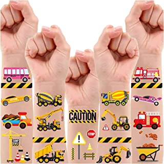 Partywind 110 PCS Cars and Trucks Temporary Tattoos for Kids, Construction Tractor Themed Birthday Party Supplies Decorati...
