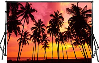Sensfun 7x5ft Summer Seaside Sunset Photography Backdrop Vinyl Palm Trees Silhouettes on Tropical Beach Photo Background for Baby Shower Happy Birthday Party Children Photo Studio Props(WP125)