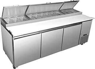 """Chef's Exclusive CE374 Three 3 Door Commercial Pizza Prep Table Stainless Steel Cooler Refrigerator 30.9 Cubic Feet (12) 1/3 Size Pans Environmentally Friendly R290 Refrigerant, 94"""" Wide, Silver"""