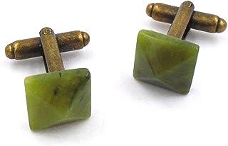 Irish Connemara Marble- Antique Brass Pyramid Cufflinks