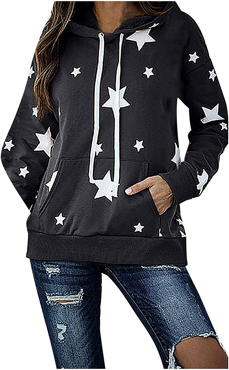 Five-Pointed Star Printing Long Sleeve Hoodie for Women Casual Loose Sweatshirt tops With Pockets