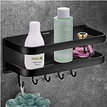 Wangel Sterke zelfklevende opbergmand met 5 haken, voor badkamer en keuken, gepatenteerde lijm + zelfklevend, aluminium, z...