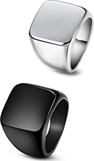 FIBO STEEL 2 Pcs Stainless Steel Signet Rings for Men Solid Polished Biker Rings Band,Size 7-13