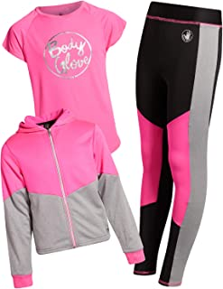 Body Glove Girl's 3-Piece Athletic Fleece Zip Up Hoodie, Leggings and Tank Top Set