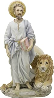 Saint St Mark the Evangelist with Lion Light Color 8 3/4 Inch Stone Statue Religious Figurine