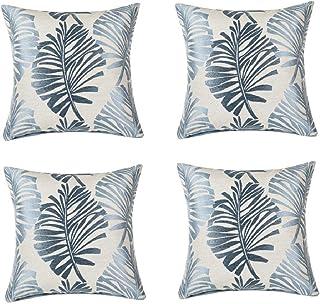 Funda de cojín azul gris 4 juegos de fundas de almohada de 45,7 x 45,7 cm, funda de almohada suave, para sala de estar, sofá cama, funda de almohada, cojín de hoja de cojín de jardín (hoja azul gris)