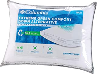 Columbia Extreme Green Comfort Down Alternative Performance Pillow - Soft and Comfy Supportive Gel Fiber Fill – Standard/Queen