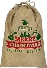 Jute We Wish You A Merry Christmas & Happy New Year Gift Santa Sack - 55cm