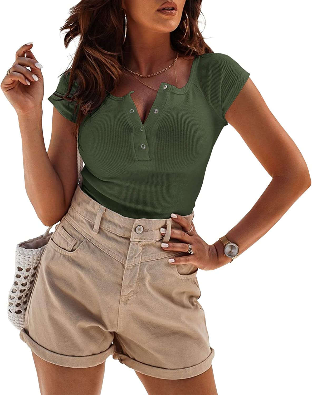 Xineppu Womens Scoop Neck Henley Shirt Short Sleeve Ribbed Basic Button Down Tees Blouse