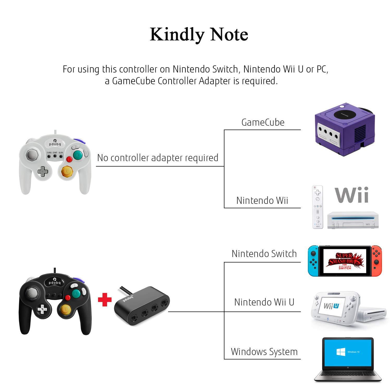 Gamecube Controller, 2 unidades de cable clásico compatible con Nintendo Gamecube Controller para Wii U, PC, Switch, WII, Super Smash Bros Ultimate Nintendo Switch Controller (negro + blanco): Amazon.es: Electrónica
