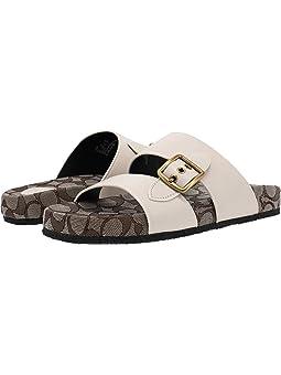 COACH Buckle Sandal,Chalk Leather