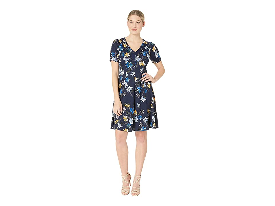 London Times Puff Sleeve Fit Flare Dress (Navy/Blue) Women
