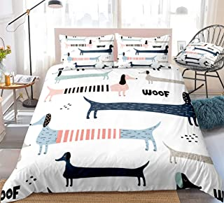 3 Pieces Dachshund Dog Bedding Colorful Sausage Dog Duvet Cover Set Dachshunds Woof Printed Design Cartoon Pet Quilt Cover King 1 Duvet Cover 2 Pillowcases (Dachshund, King)