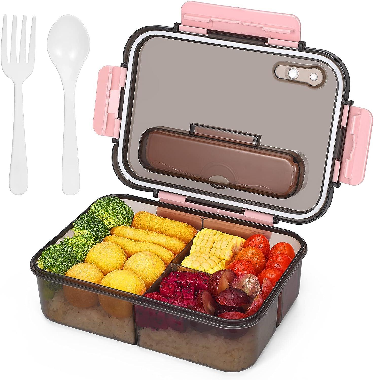 Fiambreras Bento,Caja de Bento Para Adultos y Niños,Fiambrera de Plástico Y caja de Almacenamiento de Alimentos,Bento de 3 Formatos-1500ML (Rosa)