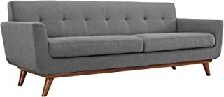 Modway Engage Mid-Century Modern Upholstered Fabric Sofa In Expectation Gray