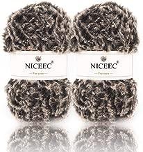 NICEEC 2 Skeins Super Soft Fur Yarn Chunky Fluffy Faux Fur Yarn Eyelash Yarn for Crochet Knit-Total Length 2×32m(2×35yds,50g×2)-Coffee