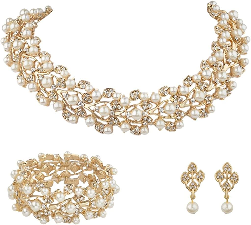 EVER FAITH Austrian Crystal Bridal Ivory Color Simulated Pearl Leaf Luxury Necklace Earrings Bracelet Set