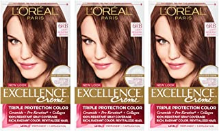 L'Oreal Paris Excellence Creme Permanent Hair Color, 6 Light Red Brown (3 Count)