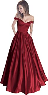 114fd70671 Harsuccting Off The Shoulder Beaded Satin Evening Prom Dress with Pocket