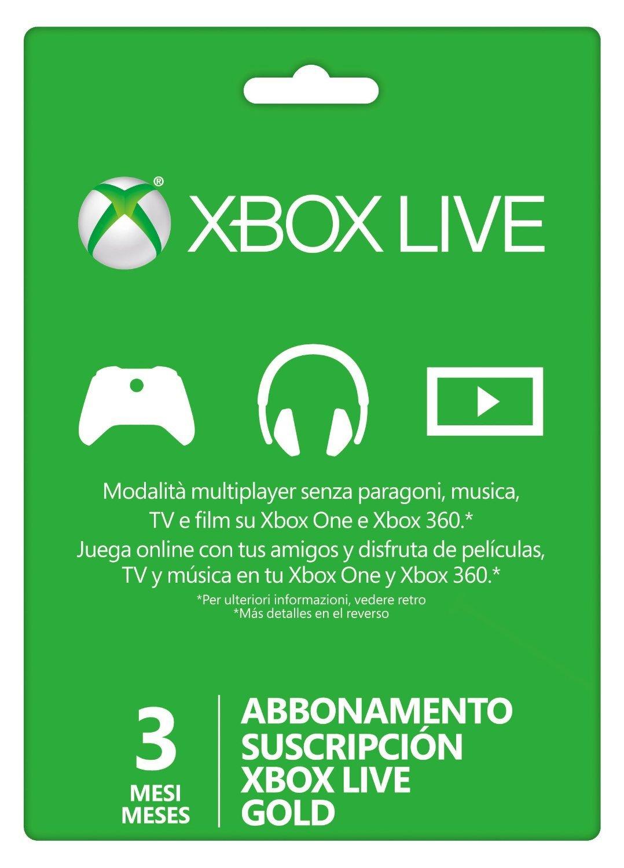 Microsoft - Live 3 Meses Gold Card (Xbox 360/One): Amazon.es: Videojuegos