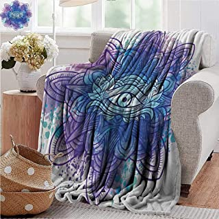 XavieraDoherty Luxury Flannel Fleece Blanket,Eye,Third Eye with Hand Drawn Mandala Vivid Colors Aura Inner Peace Awareness Chakra,Aqua Blue Purple,All Season Light Weight Living Room/Bedroom 30