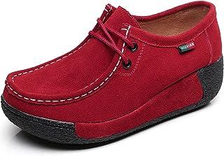 rismart Donna Formale Piattaforma Nascosto Tacco Cuneo Scamosciato Sneaker Scarpe