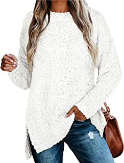 Womens Sweaters Crewneck Long Sleeve Side Slit Tunic Tops...
