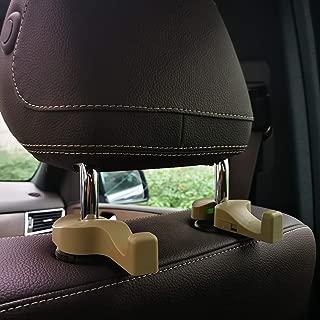 Car Headrest Hooks Universal Vehicle SUV Organizer Car Back Seat Headrest Hanger Holder Hook for Bag Purse Cloth Grocery Beige Set of 2 A7838F