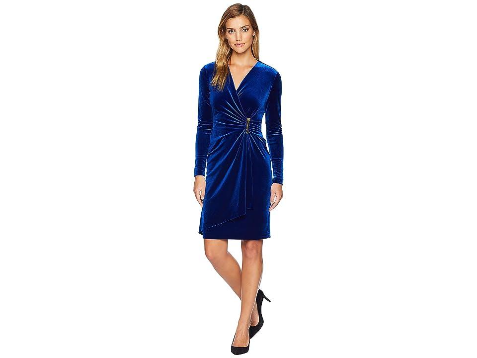 Calvin Klein Faux Wrap Velvet Dress CD8V132R (Sapphire) Women
