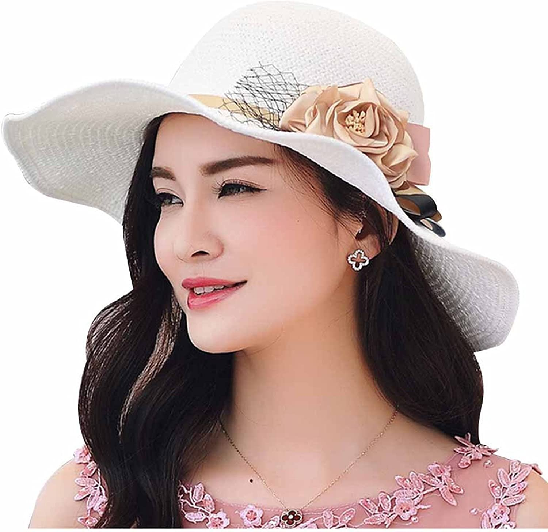 HomArt Women's Summer Wide Brim Straw Hat Sun Beach Wedding Caps Kentucky Derby Hats