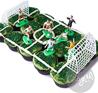 Cakegirls Soccer Team Cupcake Display Kit - (7) Soccer Player Toppers, Goalies, Soccer Ball, Referee, (2) Nets, (3.2 oz) Green Sprinkle Jimmies, (30) Black Cupcake Liners World Cup US Mexico
