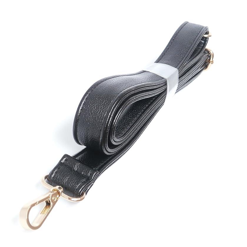 (Golden Clasps) Black 25mm Width Pu Leather Female Messenger Purse Strap Bag Accessories Shoulder Bag Straps Length 49.2 Inches