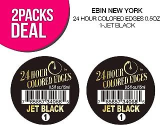(2 PACKS) EBIN New York 24 Hour Colored Edges 0.5oz (1-Jet Black)