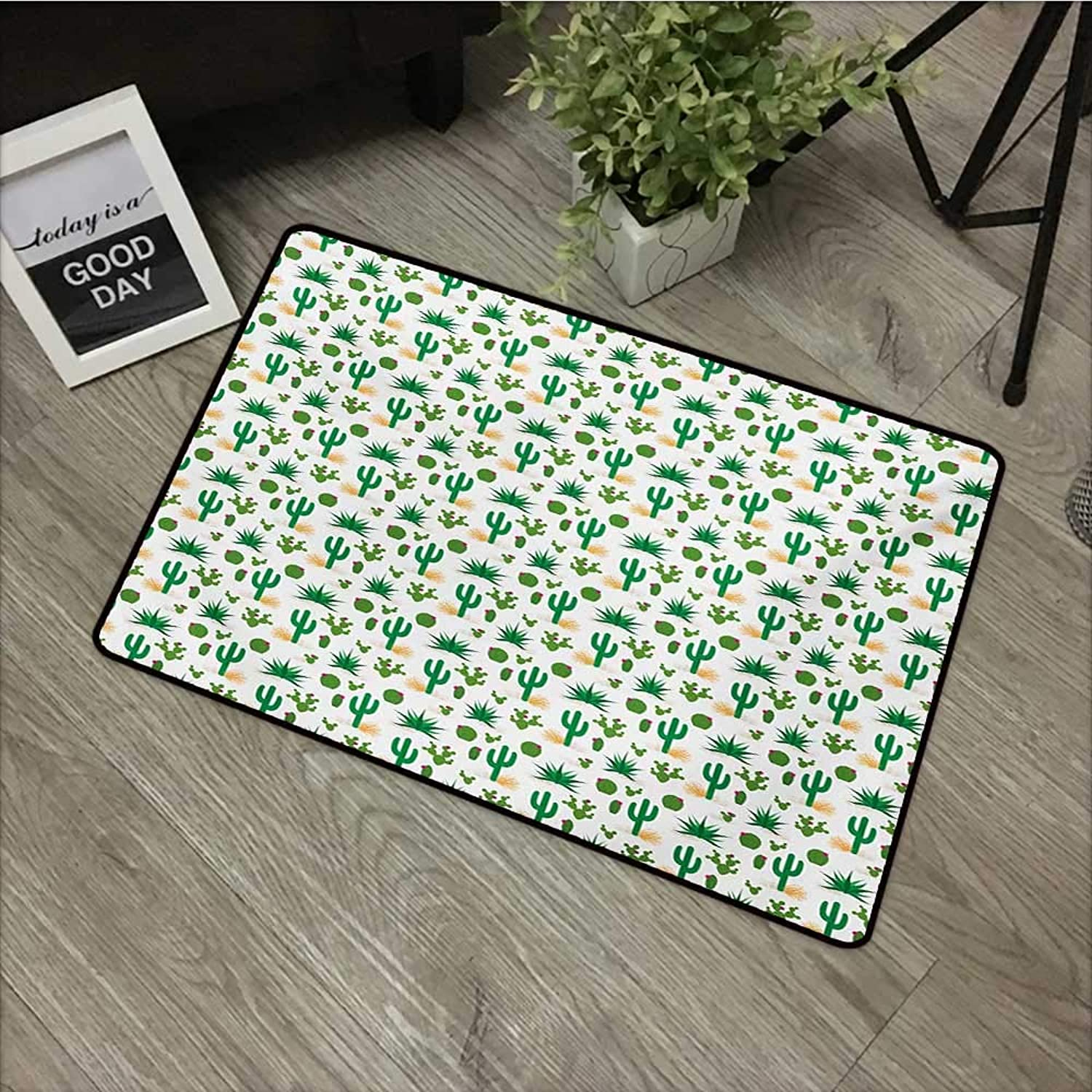 Pad W35 x L47 INCH Southwestern,Cactus Pattern with Agave Saguaro Prickly Pear Succulent Plants and Tumbleweed,Multicolor Easy to Clean, no Deformation, no Fading Non-Slip Door Mat Carpet