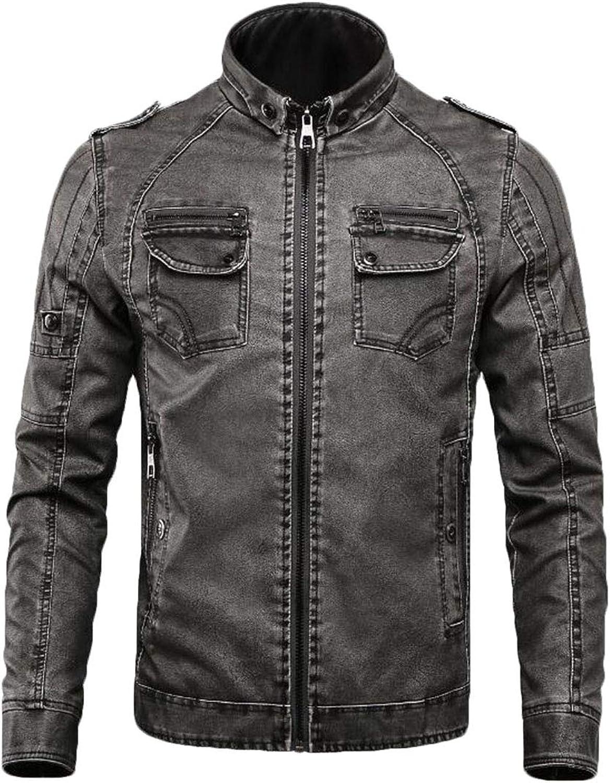 a7b08b4455 Zantt Men Warm Moto Stand Collar Collar Collar Winter Thicken Faux Fur  Lined Faux Pu Leather Jacket 078d32