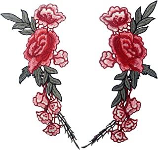 Embroidered Rose Flower Lace Applique Sew On Decorative Fashion Patch, 2 Pcs