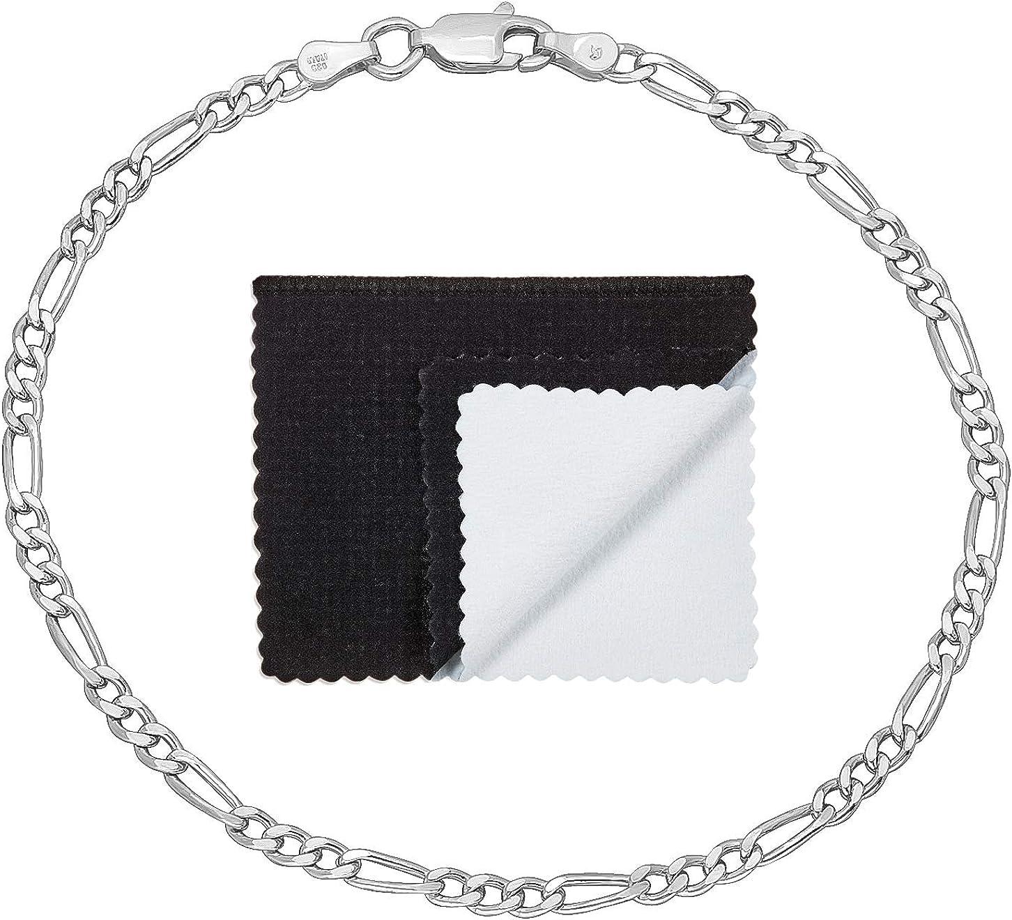 3mm Solid Japan Maker New .925 Sterling Silver Figaro Link Chain safety Bracelet Flat